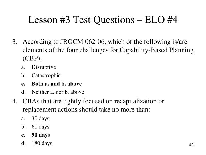 Lesson #3 Test Questions – ELO #4