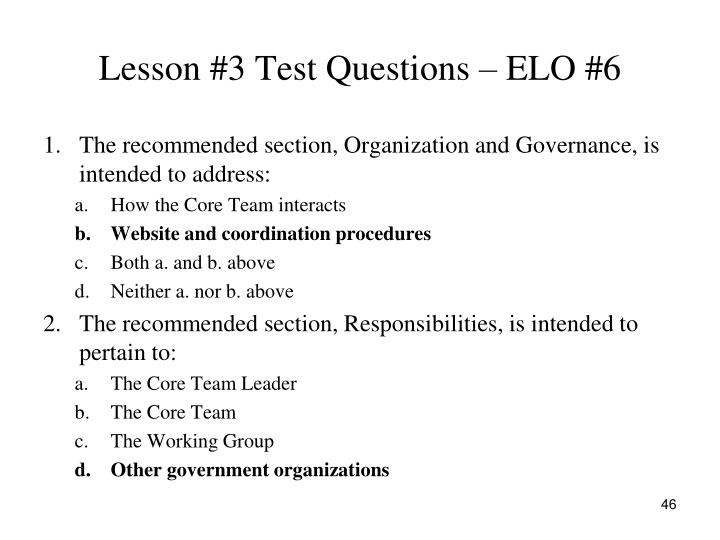 Lesson #3 Test Questions – ELO #6