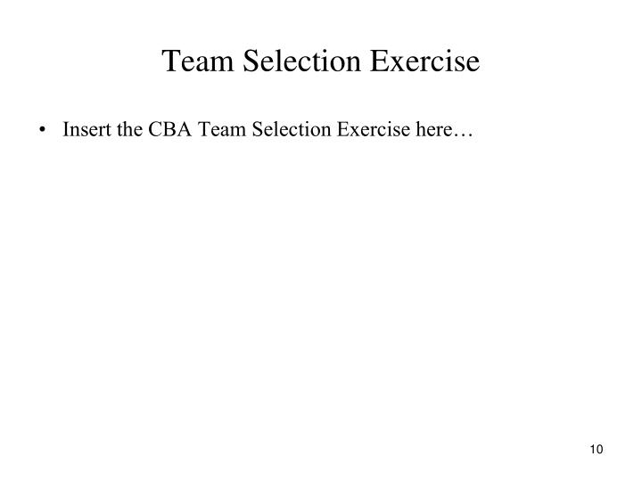 Team Selection Exercise