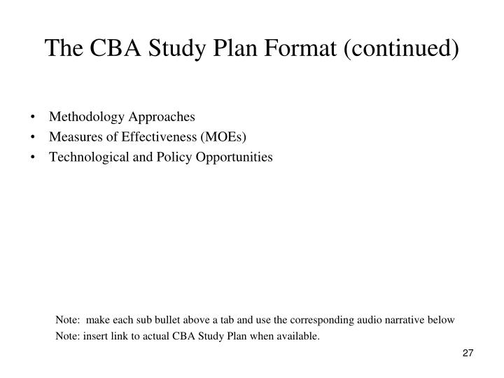The CBA Study Plan Format (continued)
