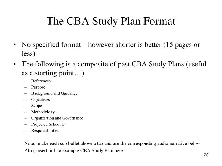 The CBA Study Plan Format