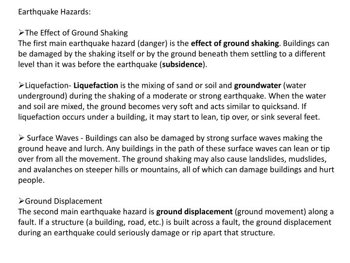 Earthquake Hazards: