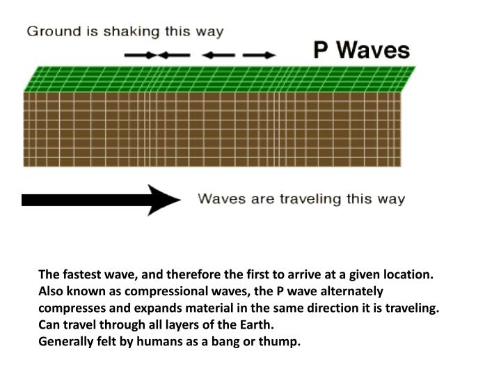 The fastest wave, and therefore the first to arrive at a given location.