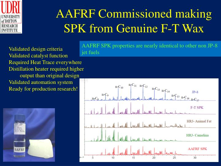 AAFRF Commissioned making SPK from Genuine F-T Wax