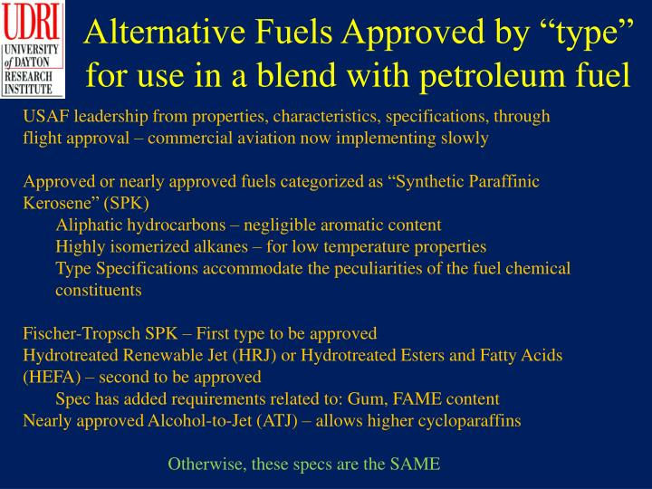 "Alternative Fuels Approved by ""type"" for use in a blend with petroleum fuel"
