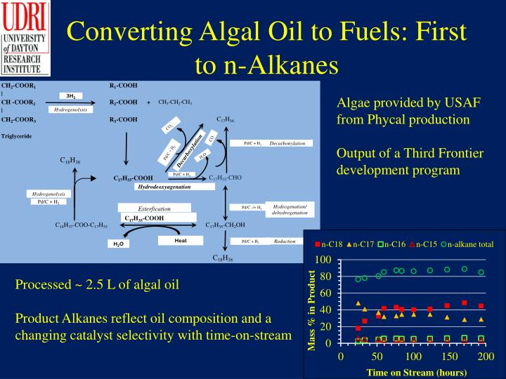 Converting Algal Oil to Fuels: First to n-Alkanes