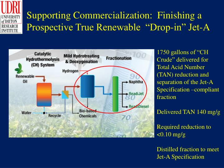 "Supporting Commercialization:  Finishing a Prospective True Renewable  ""Drop-in"" Jet-A"
