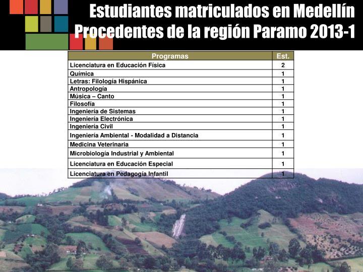 Estudiantes matriculados en Medellín