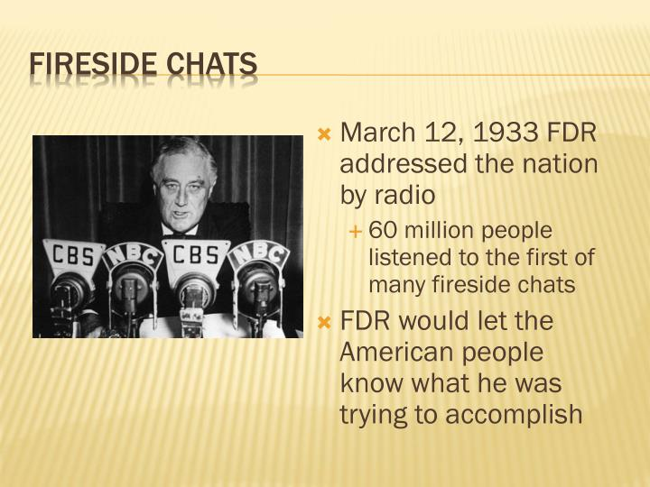 March 12, 1933 FDR addressed the nation by radio