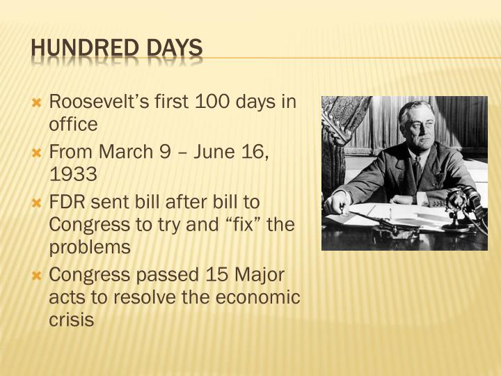 Roosevelt's first 100 days in office