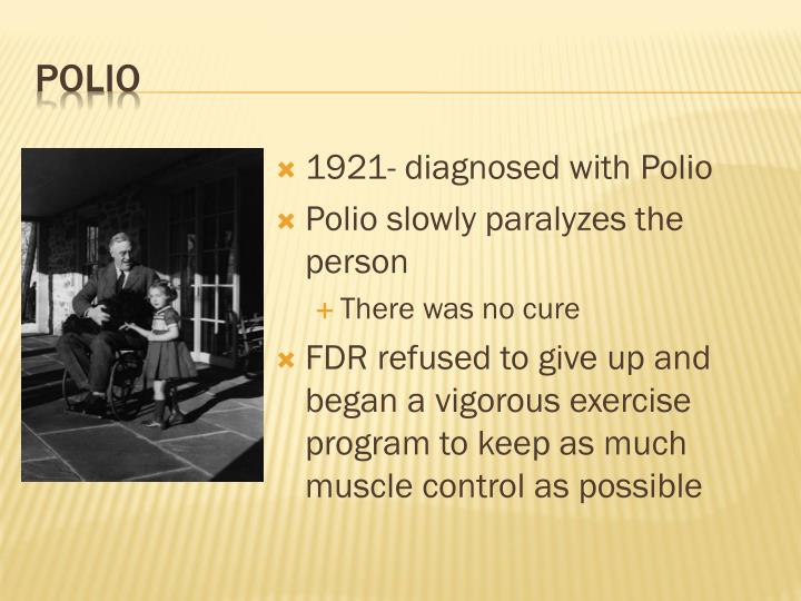 1921- diagnosed with Polio