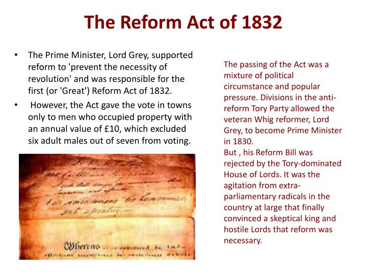 great reform act essay In 1867 the second reform act was passed by disraeli, there were many factors which brought about the reform act and public pressure was definitely one of them however there were other factors which helped the 1867 reform act to be passed, such as the conservatives being opportunists, the personal ambitions of disraeli and also the fear of unrest that pushed the act to be passed.