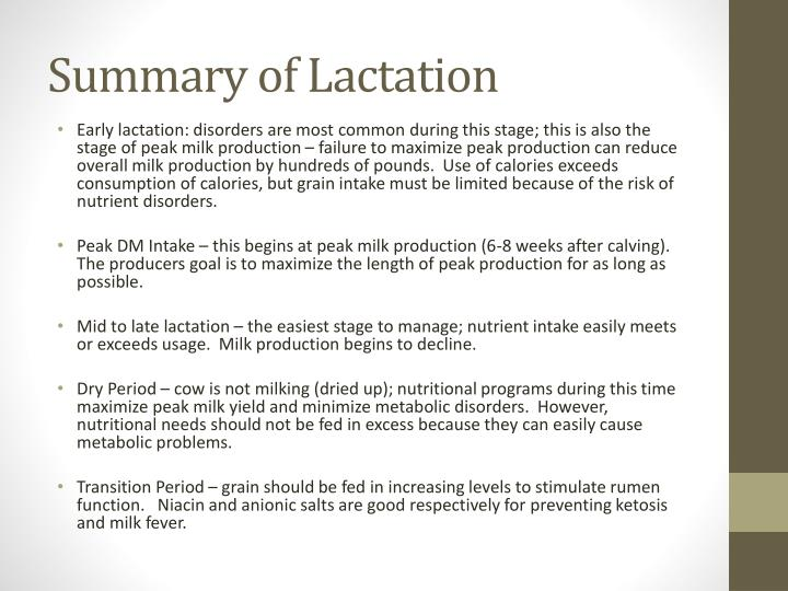 Summary of Lactation