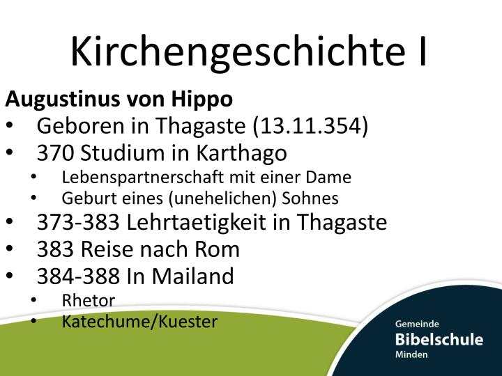 Kirchengeschichte I