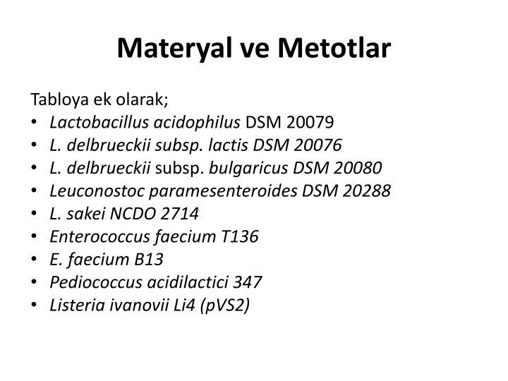Materyal ve Metotlar