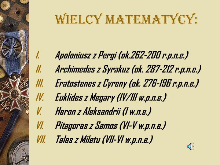 WIELCY MATEMATYCY: