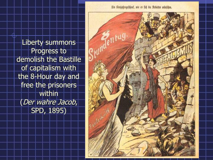 Liberty summons Progress to demolish the Bastille of capitalism with the 8-Hour