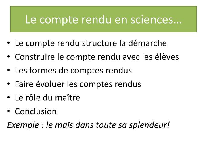 Le compte rendu en sciences…