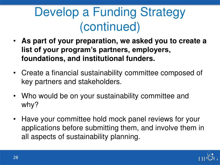 Develop a Funding Strategy (continued)