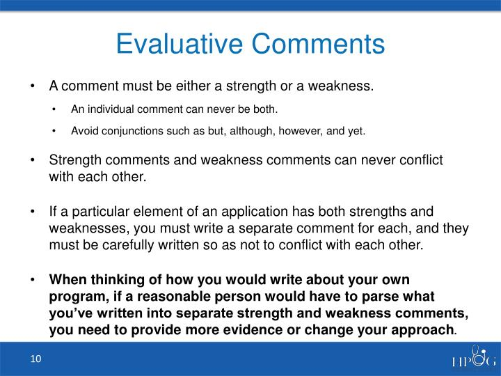 Evaluative Comments