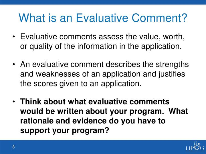 What is an Evaluative Comment?