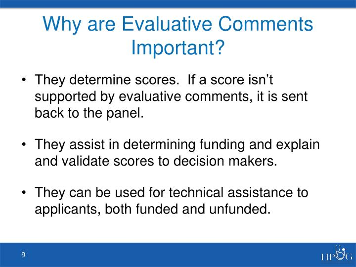 Why are Evaluative Comments Important?