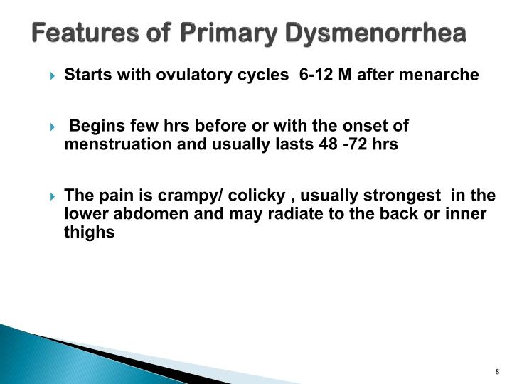 Features of Primary Dysmenorrhea