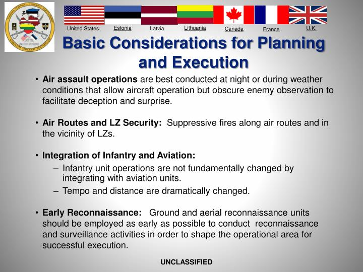 Basic Considerations for Planning and Execution