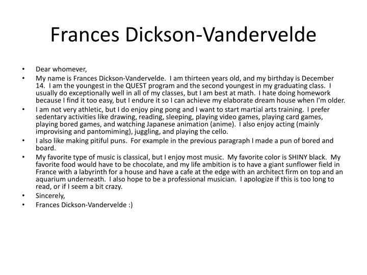 Frances Dickson-Vandervelde