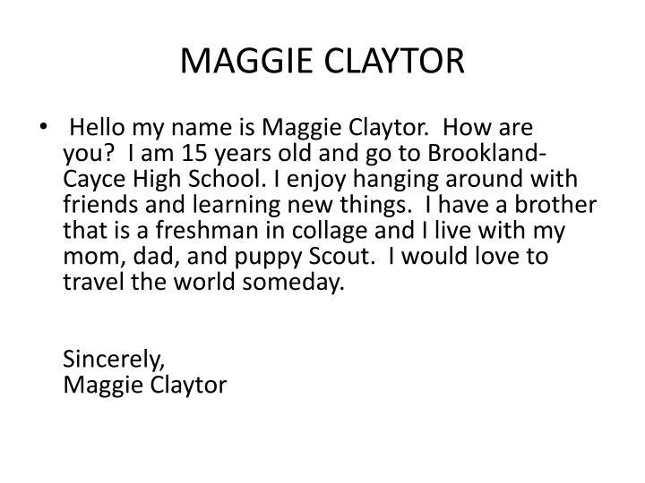 MAGGIE CLAYTOR
