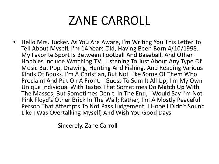 ZANE CARROLL