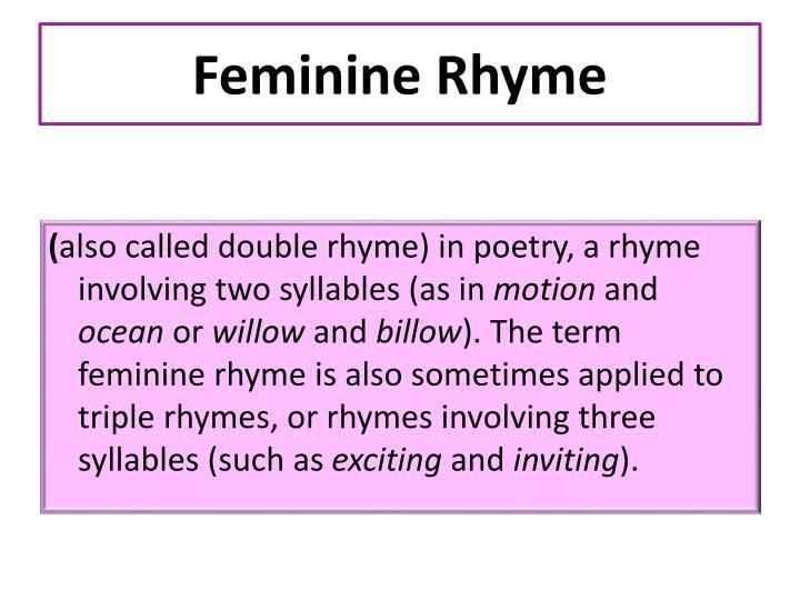 Feminine Rhyme