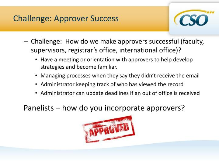Challenge: Approver Success