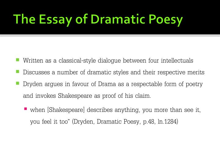 crites in essay of dramatic poesy