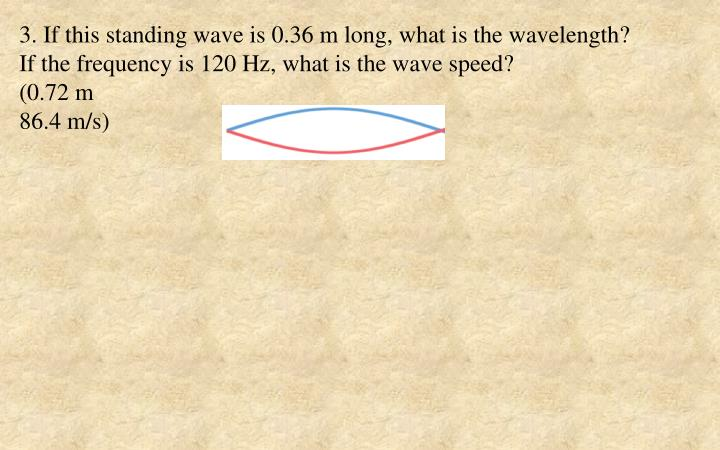 3. If this standing wave is 0.36 m long, what is the wavelength?
