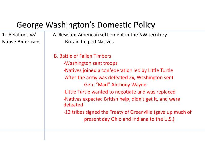 George Washington's Domestic Policy