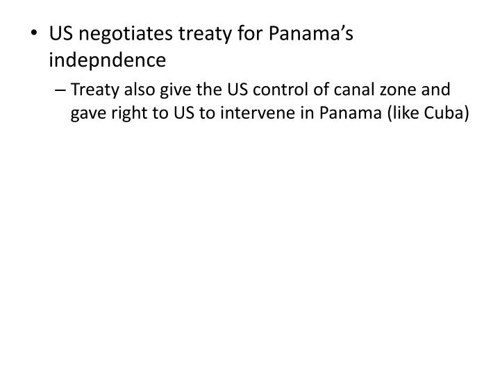 US negotiates treaty for Panama's indepndence