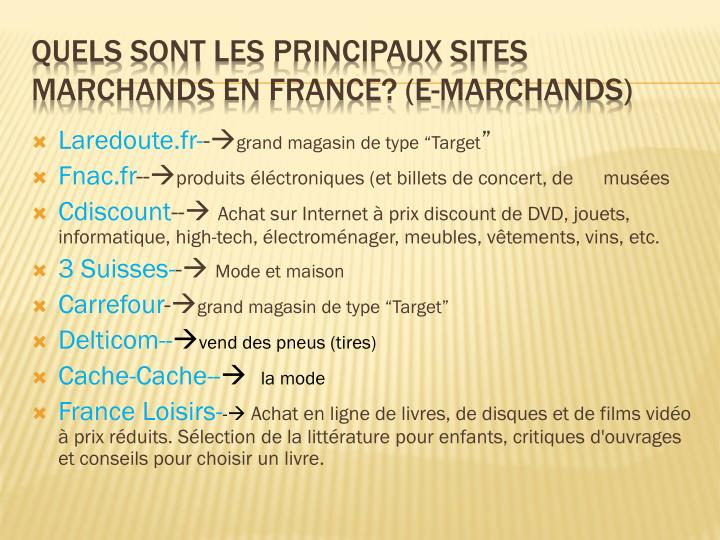 Quels sont les principaux sites marchands en france e marchands