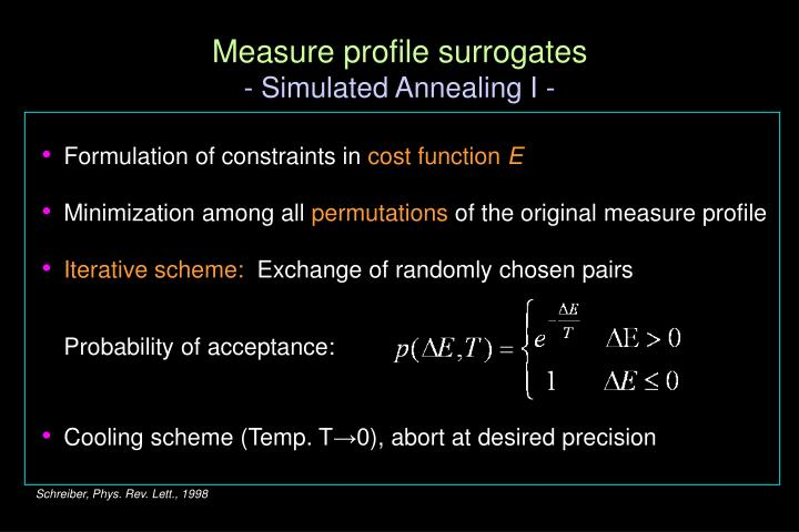 Measure profile surrogates