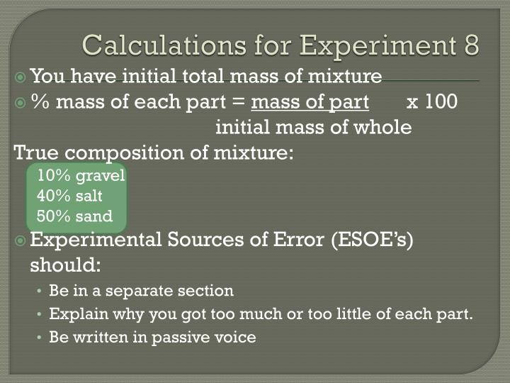 Calculations for Experiment 8