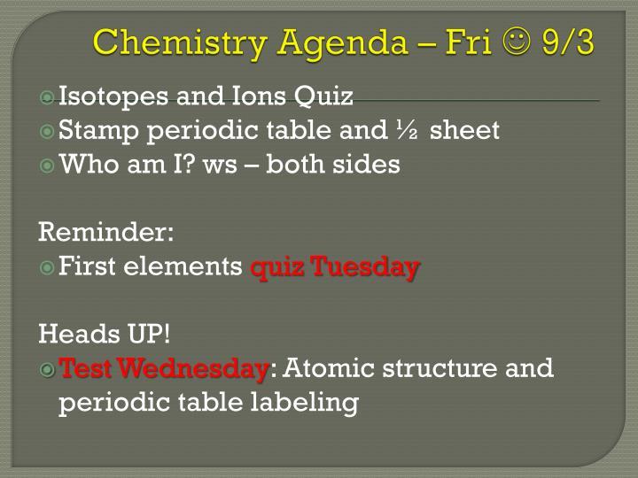 Chemistry Agenda – Fri