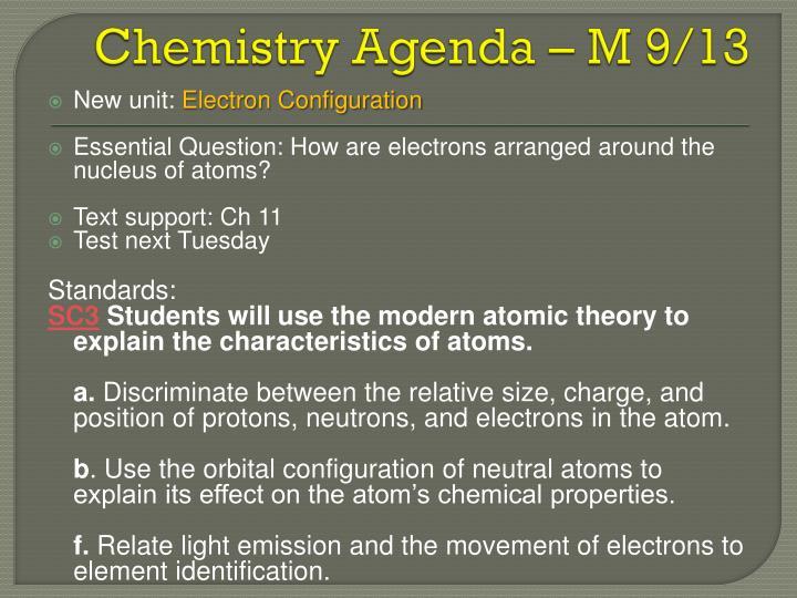 Chemistry Agenda – M 9/13