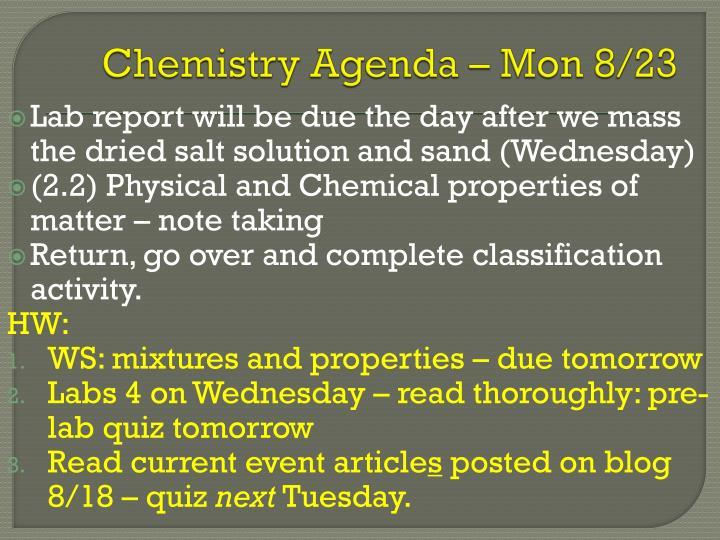 Chemistry Agenda – Mon 8/23
