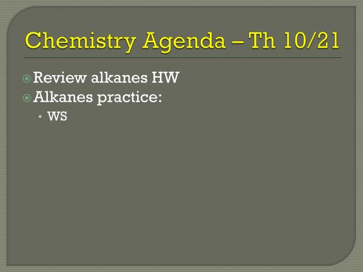 Chemistry Agenda –