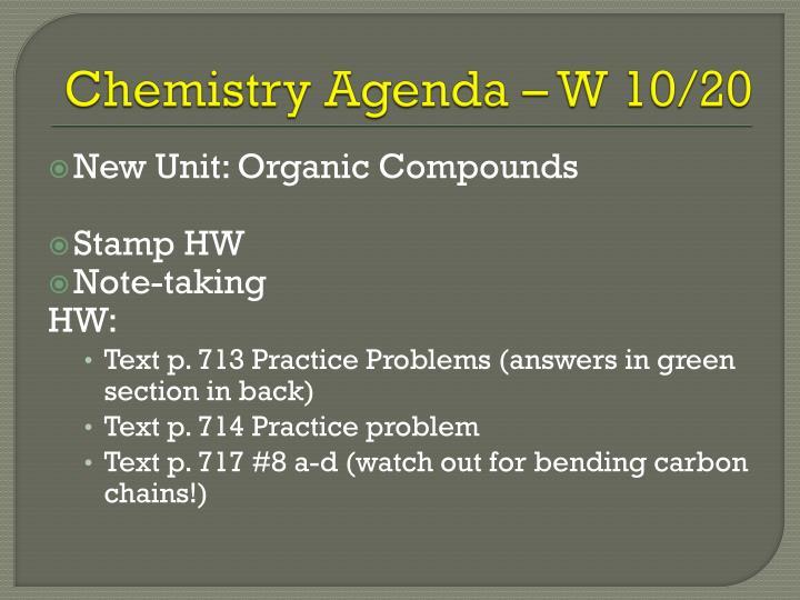 Chemistry Agenda – W 10/20
