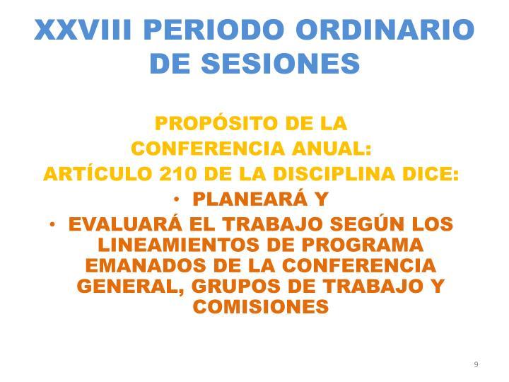 XXVIII PERIODO ORDINARIO DE SESIONES
