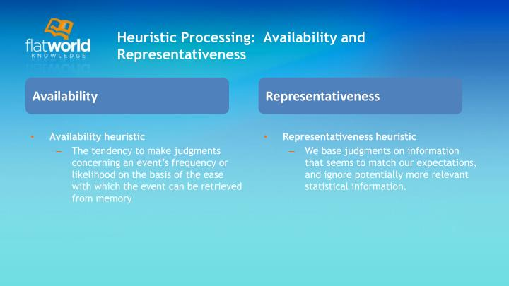 Heuristic Processing:  Availability and Representativeness