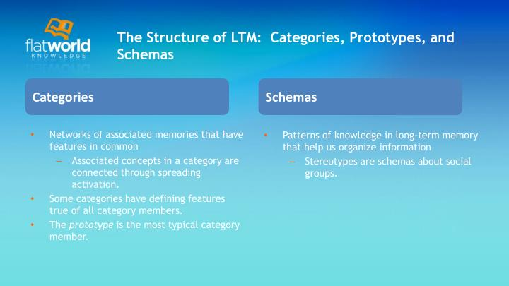The Structure of LTM:  Categories, Prototypes, and Schemas