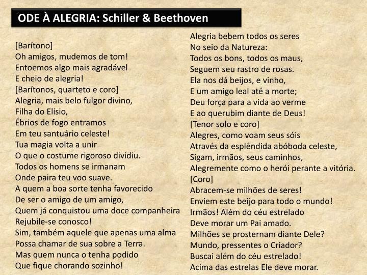 ODE À ALEGRIA: Schiller & Beethoven