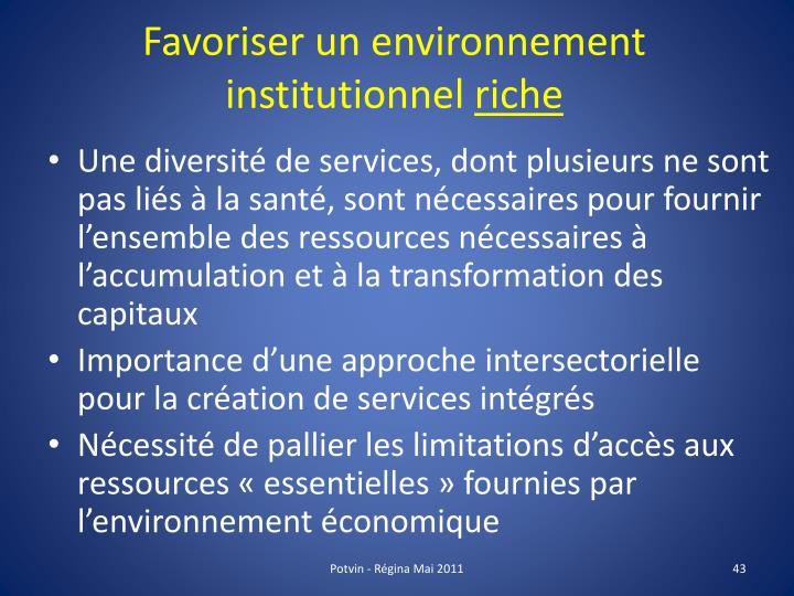 Favoriser un environnement institutionnel